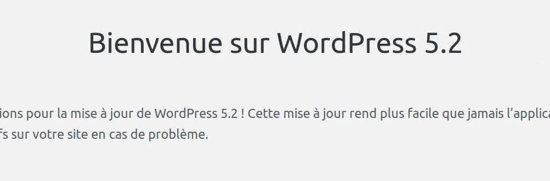 Mettez à jour votre WordPress en 5.2