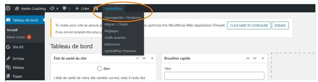 restaurer site wordpress plugin updraftplus